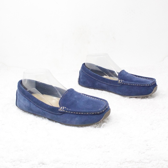 L.L. Bean Shoes - LL Bean Blue Suede Slipper Loafers Shearling Sz 8